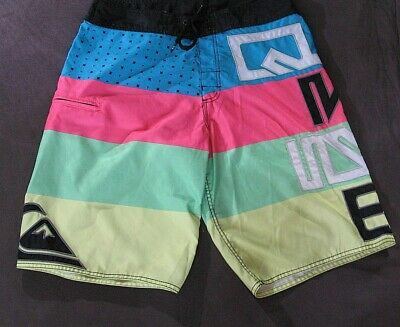 Vintage Quiksilver Neon Striped Board Shorts Size 32 Swim Surf Trunks Men's