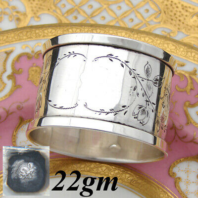 """Antique to Vintage French Sterling Silver 2"""" Napkin Ring, Floral Decoration"""