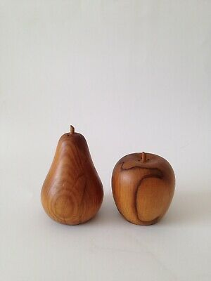 Wooden Pear And Apple Salt And Pepper Shakers