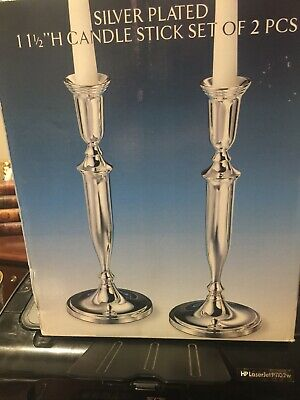 "Vtg Godinger Silver plated  Style Silver Candlesticks Pair 11.5"" Tall NEW"