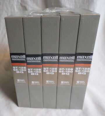 Maxell VHS Blank Tapes 5-Pack New Sealed Professional ST-126 SE-180 BQ Japan