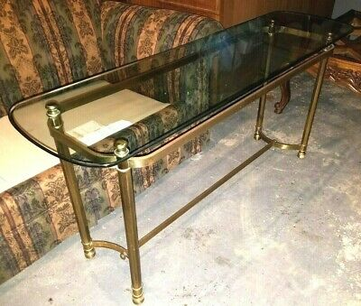 Vtg Mid Century Modern LABARGE Glass Brass Sofa Console Table Hollywood Regency
