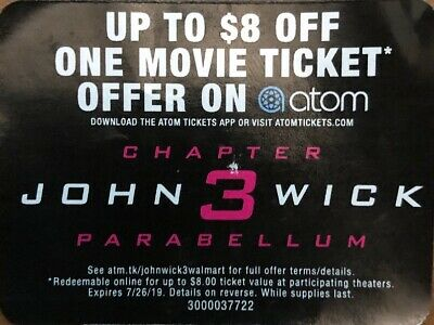 $8 Off 1 Movie Ticket To See John Wick Chapter 3: Parabellum On ATOM Only