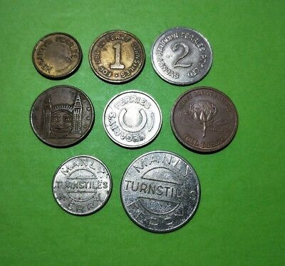 8 different Vintage Sydney Harbour tokens : Bridge Toll, Manly Ferry, Luna Park
