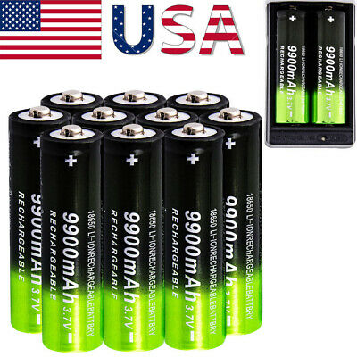 9900mAh Powerful 10Pcs 18650 Battery 3.7v Li-ion Rechargeable Battery + Charger