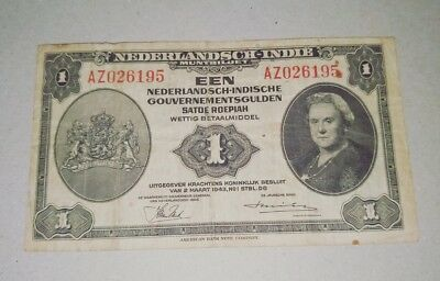 AZ Serial WWII banknote Dutch East Indies / Indonesia 1 Gulden / Rupiah