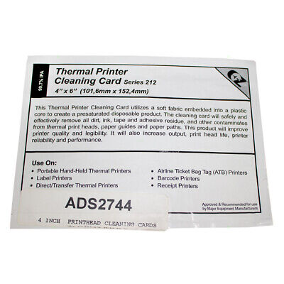 """4"""" Thermal Computer PC Printer Quality Cleaning Card Dirt Ink Debris Removal"""