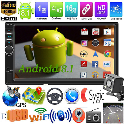 """7"""" Double 2Din Android 8.1 Quad Core GPS Navi WiFi Car Stereo MP5 Player FM AUX"""