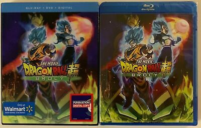 New Dragon Ball Super Broly Blu Ray Dvd + Walmart Exclusive Lenticular Slipcover