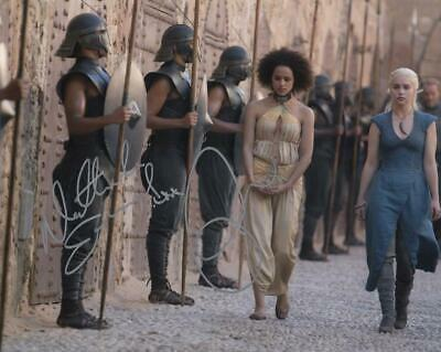 NATHALIE EMMANUEL, EMILIA CLARKE Signed 8x10 Photo COA (Game of Thrones)