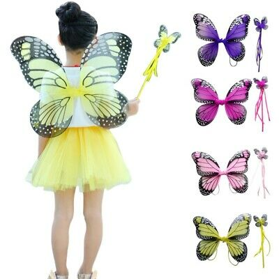 Kids Folding Butterfly Fairy Wings Angel Wings Stick Props Costume Masquerade AU