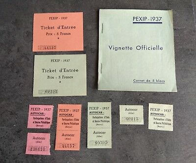 France Lot Vignettes Ticket Carnet Pexip Paris 1937 Exposition Rare
