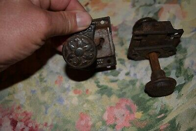 Pair Antique Small Handles Ornate Designs Both Ends And Brackets