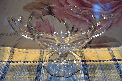 Glass Sugar Bowl Vintage Art Deco Style, Two Handle Open Dish Heavy Thick Fluted