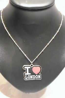 Jewellery Necklace Vintage Style, Enamel I Love London Pendant Gold Metal 27.25""