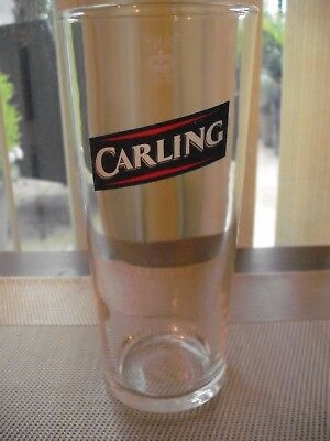 """Carling Lager 7"""" Tall Drinks Glass 1 Pint, Retro French Clear & Logo  Breweriana"""