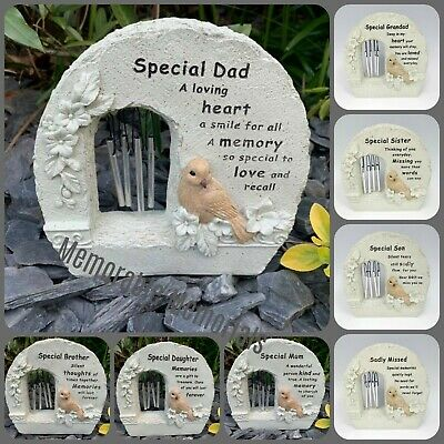 Memorial Bird Wind Chime Rock Grave Remembrance Plaque Tribute Ornament Flower