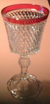 vintage Indiana Glass Diamond Point Compote Dish-Urn-Candy-Nuts-Cranberry Flash