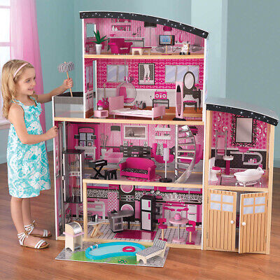 KidKraft Sparkle Mansion Dollhouse, 30 Pieces of Detailed Furniture, Ages 3+