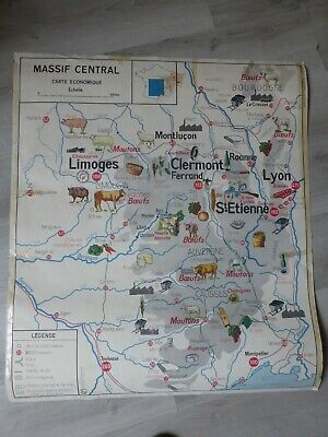 carte murale scolaire MEDITERRANEENNE + CORSE  Massif Central instituteurs