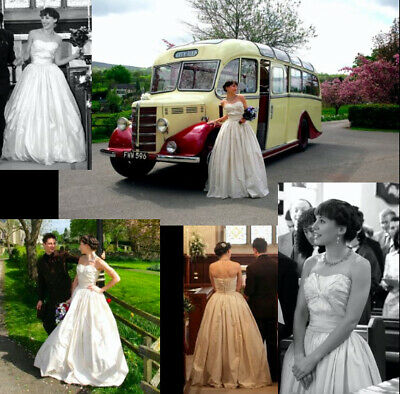 1950s INCREDIBLE original vintage 50s full-length silk wedding dress UK 8