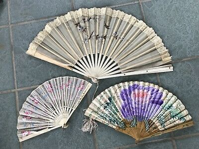 Antique Lot Hand Painted Lace Sequin Fans For Spare Repair Or Re Use