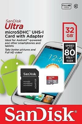 32GB Micro SD SanDisk Ultra Memory Card UHS 1 80mb CLASS 10 + Adaptateur