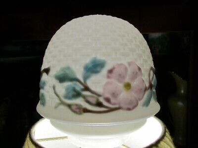 Antique Vintage Reverse Painted Glass Light Lamp Shade Milk Basket weave