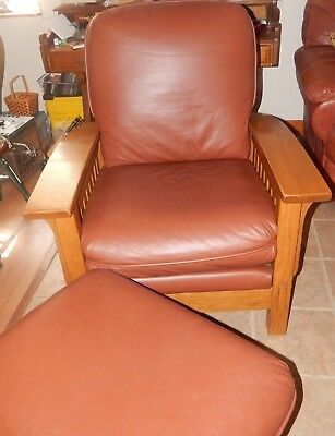 Vintage Oak and Leather Stickley Style Morris Chair with Foot Stool VGC