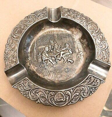 Silver plate ashtray men playing