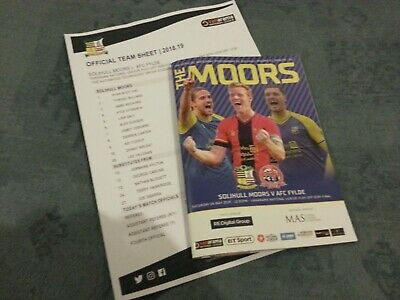 Solihull Moors V AFC Fylde 4th May 2019 Play-Off SemiFinal programme +team sheet
