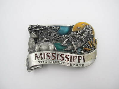 Vintage 1984 Mississippi The Greatest Escape Belt Buckle (Made in USA) A78