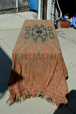 Museum Deaccession Fine Antique Early 1800s India Kashmir Paisley Scarf Shawl Antiques Tapestries