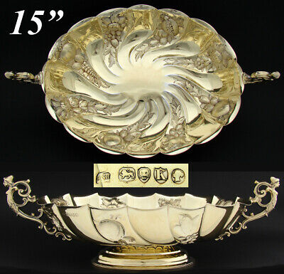 """Exq Antique English 14k Gold on Sterling Silver 15.25"""" Centerpiece, Figural Bowl"""