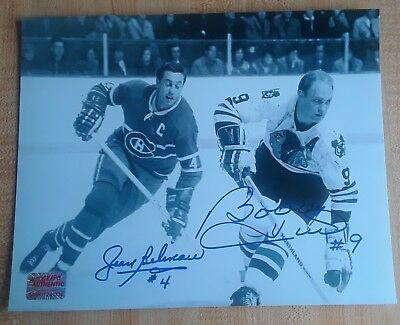 Jean Beliveau & Bobby Hull Habs Hawks 8x10 Photo Signed Autograph Reprint