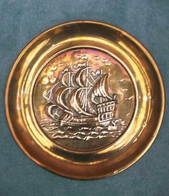 Arts & Crafts Brass Galleon Ship Wall Plate / Charger
