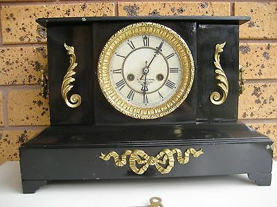 Antique 1898 A. Saunders Sydney Striking Metal Mantle Clock with Hourly Chime