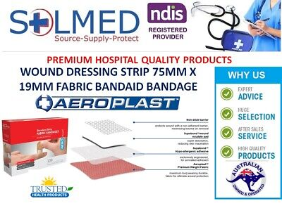 BOX 100 BANDAIDS PREMIUM FABRIC STRIPS LARGER BREATHABLE 75MM x 19MM SEE DETAIL