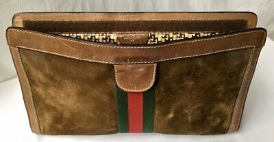"""""""GUCCI PARFUMS, MADE IN ITALY, 38"""" brown suede, tan leather, grn-red-grn web bag"""