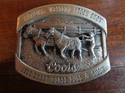 1983 Coors Belt Buckle National Western Stock Show Draft Horse Pull Cowboy