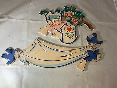 """Dolly Toy Co. Cutout Wall Hanging """"Rock A Bye Baby"""" 1952  2 Pieces"""
