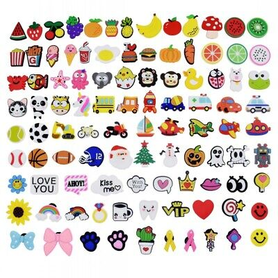 US Stock 100PCS Mixed Shoe Charms Ornaments For Jibitz Sandal Shoes Wristbands