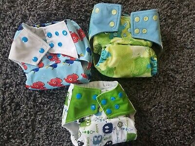 3 One Size Pocket Cloth Diapers