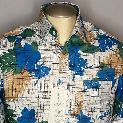 9336fffa Coofandy Mens Shirt M White Blue Hawaiian Hibiscus Floral Button Up LS Nwt