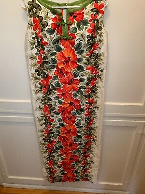 a188f6840617 Vintage Elsie Krassas Sz S Cotton Long Hawaiian Print Dress 1960's 70's