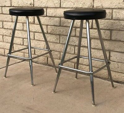Pair Original Vintage Atomic Mid Century Danish Modern Retro 1950s Bar Stools