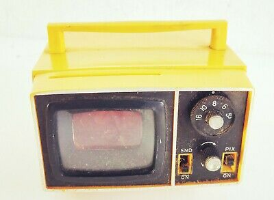 Vintage Lumina Slide Viewer Shaped Like Retro Yellow Portable Television (9373)