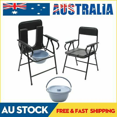 AU Pregnant Elder 3 in 1 Foldable Commode Chair Steel Toilet & Shower Potty Seat