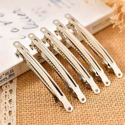 Pack of (x10) Chrome Plated Metal Hair Clips French Style Barrette Clips DIY