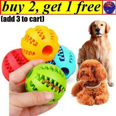Dog Chew Ball Toy Rubber Dental Clean Teeth Healthy Treat Gum Bite Puppy Pet CB